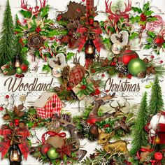 A set of nature themed Christmas side clusters designed to coordinate with the Woodland Christmas collection from Raspberry Road.
