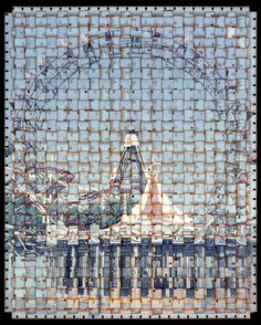 To create each of Seoul-based artist Seung Hoon Park's images for the series Textus, Park chops up strips of 8mm or 16mm film and weaves them together to create larger images that depict well-known and iconic landmarks and buildings from all over the world. In doing so, each image emits an otherworldly quality—one part a definite representation of a specific site and one-part entirely fantastical.