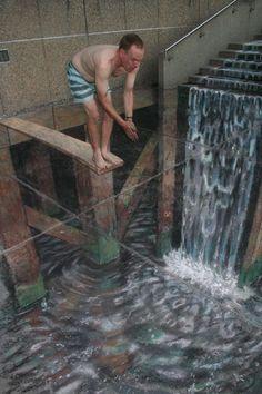 Les incroyables fresques en trompe loeil de Julian Beever #StreetArt