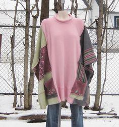 upcycled sweatshirts | Upcycled Poncho, Upcycled Clothing, Recycled Sweaters, Womens Clothing ...