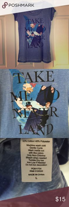 "Disney Peter Pan Tee This cute Peter Pan tee would be perfect for a day in the Disney Parks! The color is a burnout periwinkle and it is brand new, never worn, but no tags. Measurements are 16.5"" across and 27"" from shoulder to hem. Disney Tops Tees - Short Sleeve"