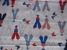 Vintage Sailor Boy Fabric Cotton Blend Red White Blue Fabric 4th of July Fabric  #LeonBRosenblattTextilesLtd