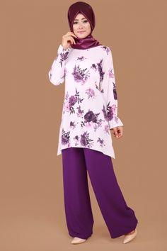 K.N.Z - Desenli Pantolonlu Kombin KNZ5062 Mürdüm Abaya Fashion, Muslim Fashion, Modest Fashion, Fashion Pants, Fashion Outfits, Girls Fashion Clothes, Girl Fashion, Clothes For Women, Modest Outfits