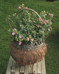 love this metal wire planter!