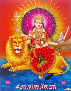 Sikotar Maa, Goddess of Gujarat (via ebay: Indian_ash) Durga Picture, Maa Durga Photo, Maa Durga Image, Durga Kali, Durga Goddess, Kali Hindu, Shiva Art, Krishna Art, Hindu Art