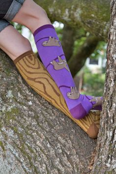 From today's photoshoot: newly rereleased woodgrain socks, with upcoming sloth knee highs!