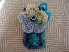 crocheted flower pin birthday gift gifts by ContainedHappiness