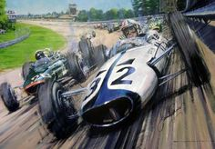 "Actor James Garner is shown piloting a McLaren around the high banking of the legendary Monza circuit in Nicolas Watt's painting inspired by the 1966 movie ""Grand Prix."" Since Garner's Yamura Motors was a fictional race team, the producers struck a d Italian Grand Prix, Gilles Villeneuve, Car Posters, Vintage Race Car, Car Drawings, Automotive Art, Car Painting, Car Wallpapers, Car Sketch"