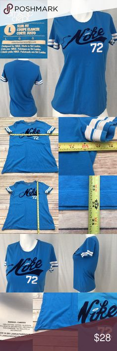💗Large Nike Blue Slim Fit Baseball Style T-shirt Measurements are in photos. Normal wash wear, no flaws. B2 **BOTTOM HEM IS UNDONE. SEE PHOTOS I do not comment to my buyers after purchases, do to their privacy. If you would like any reassurance after your purchase that I did receive your order, please feel free to comment on the listing and I will promptly respond. I ship everyday and I always package safely. Thanks! Nike Tops Tees - Short Sleeve