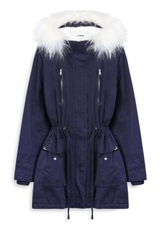 Navy parka with white fur. Coat Trends Fall 2016