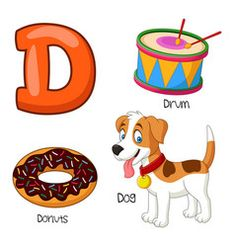 Illustration Of D Alphabet Alphabet Sounds, Alphabet For Kids, Animal Alphabet, Bubble Alphabet, Learning English For Kids, English Worksheets For Kids, English Activities, Alphabet Worksheets, Alphabet Activities