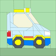 """Taxi 12"""" (30cm) Paper pieced pattern quiltartdesigns.blogspot.com"""