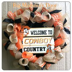 Oklahoma State Pistol Pete | Oklahoma State Cowboys Wreath by BigMommasDoor on Etsy