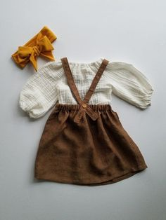 Items similar to Baby Girls Linen Pinafore Dress-Linen Jumper Dress-Boho Dress-Fall Jumper Dress-Brown Linen Dress-Toddler Girls Linen Jumper Dress on Etsy – Cute Adorable Baby Outfits Toddler Girl Style, Toddler Girl Dresses, Toddler Outfits, Infant Dresses, Girls Dresses, Baby Style, Baby Girl Fashion, Toddler Fashion, Kids Fashion