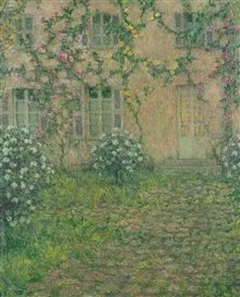 Artwork by Henri Eugène Augustin le Sidaner, LA MAISON AUX ROSES, Made of oil on canvas