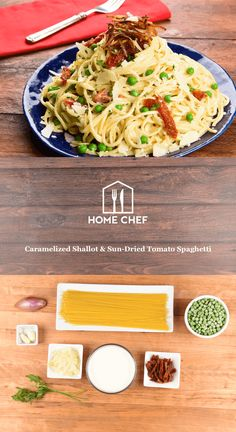 Here at Home Chef HQ, we love caramelized shallots so much, we'd put them in our coffee if we thought the flavor profile fit. We know you'll love them on this spaghetti, where they complement the sweet peas and the jammy goodness of the sun-dried tomatoes. With nutty, rich shaved Parmesan stirred into the sauce, this weeknight pasta will fill you up nicely until that morning cup of coffee. (With or without shallots, we don't judge.)