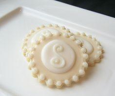 Iced Sugar Cookies Monogram Wedding Favor Cookie Pearlized.via Etsy.