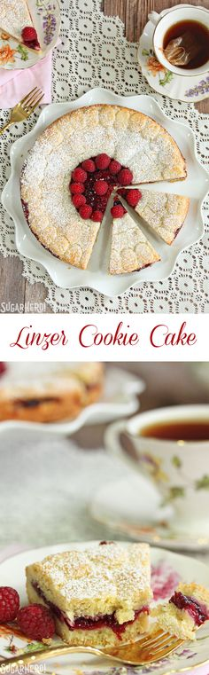 Linzer Cookie Cake - a giant raspberry and almond cookie that you can ...