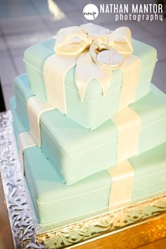 Tiffany Box Wedding Cake • this will be MY cake, so none of my friends better steal the idea before I do it