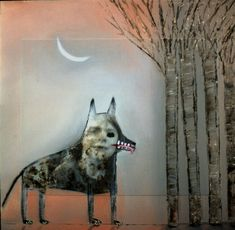 Holly Roberts - SMALL-WOLF-WITH-FOREST.jpg (613×600)