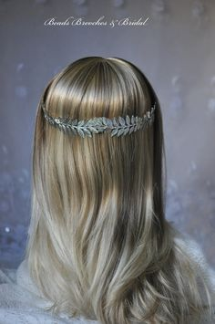 Grecian Hair, Silver Plated Leaf Wedding Headband,Wedding Hairpiece, Silver Bridal Headband, Goddess Hair, Silver Greek Headband