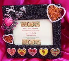 $45  Vintage Jewelry Photo Frame with Black Seed Beads by Finechinamosaics.com