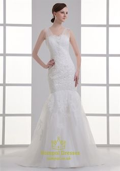 Mermaid Wedding Dresses With Lace And Bling,Tip Of The Shoulder Lace Wedding Dress