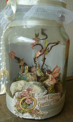 Easter Altered jar with captured fairy
