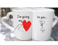 Love Couples Mugs, Valentines Day Gifts, Heart and Key Mugs