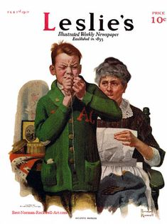 """""""Helping Mother"""" 2/1/1917 aka. """"Boy Threading Needle"""" by Norman Rockwell for Leslie's Illustrated Weekly Newspaper, cover"""
