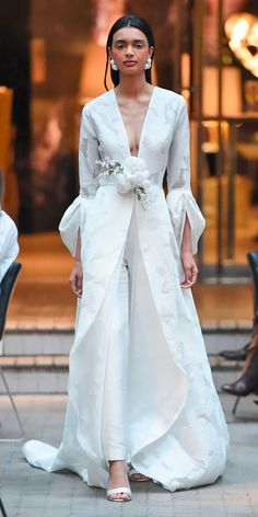 Sachin & Babi Spring 2018 Wedding Dresses — New York Bridal Fashion Week Runway Show Wedding Dresses 2018, Wedding Dress Trends, Bridal Dresses, Formal Dresses, Bridal Pants, Bridal Outfits, Wedding Pantsuit, Wedding Coat, Wedding Jacket