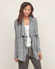 An open sweater with a drapey neckline, ribbed trims and front pockets, Easy Fit, Imported