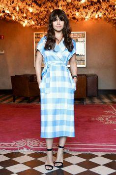 Best Dressed: Miroslava Duma in casual summer style blue gingham print wrap dress.
