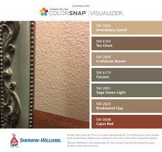 I found these colors with ColorSnap® Visualizer for iPhone by Sherwin-Williams: Dromedary Camel (SW Tea Chest (SW Craftsman Brown (SW Cocoon (SW Sage Green Light (SW Rookwood Clay (SW Cajun Red (SW Brown Paint Schemes, Red Color Schemes, House Color Schemes, Room Paint Colors, Paint Colors For Living Room, Paint Colors For Home, Sage Green House, Beige Living Rooms, Favorite Paint Colors