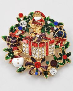 Gold Tone / Green & Red Epoxy / Multi Colored Rhinestones / Lead&nickel Compliant / Christmas Theme Brooch