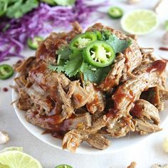 All natural, quick and easy, succulent, tender, sweet and spicy, saucy, ginger and jalapeno pulled pork. GF-Paleo-Whole30