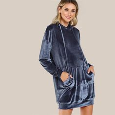 Shop Drop Shoulder Pocket Front Hoodie Dress at ROMWE, discover more fashion styles online. Fall Dresses, Casual Dresses, Women's Dresses, Romwe, Sweatshirt Dress, Casual Fall, Trendy Outfits, Knitwear, Bomber Jacket