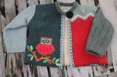 Children's cardigan made from recycled / upcycled wool sweaters that have been felted, cut apart and restitched into fun wearable art for children.: