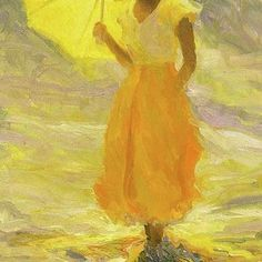color of the week: late summer yellow: Huile de Diane Leonard, artiste américaine. Art Jaune, Umbrella Art, Yellow Umbrella, Illustration Art, Illustrations, Shades Of Yellow, Happy Colors, Mellow Yellow, Yellow Cloud