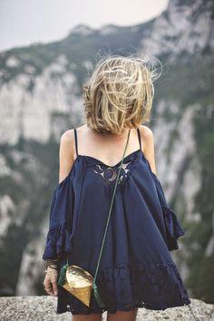 Navy Little Lace Summer Dress