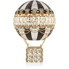 Judith Leiber Hot Air Balloon Clutch ($4,995) ❤ liked on Polyvore featuring bags, handbags, clutches, judith leiber clutches, pattern handbag, pattern purse, chain purse and white purse
