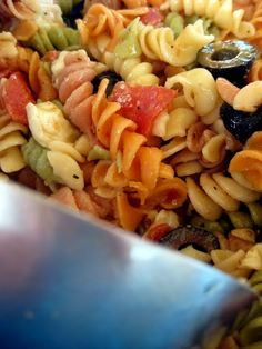 pasta salad--used Greek goddess dressing with leftover rotisserie chicken, diced tomatoes, cucumber, peppers, olives, and a bit of grated cheese. Didn't follow recipe, but it turned out like the picture :)