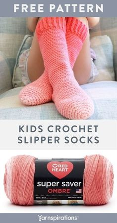 Free Kids Crochet Slipper Socks crochet pattern in Red Heart Super Saver Ombre. These Kids Crochet Slipper Socks, by Sarah Zimmerman of Repeat Crafter Me, are perfect for keeping cozy whilst having fun at home! This is an easy crochet pattern, worked up with single crochet, plus some fun ribbing. #yarnspirations #freecrochetpattern #crochetslippers #crochetsocks #slippersocks #beginnercrochet #beginnersocks #kidssocks #redheartyarn #redheartsupersaver #supersaveryarn #ombreyarn #ombresocks Kids Patterns, Easy Crochet Patterns, Crochet Designs, Crochet Toddler, Crochet For Kids, Crochet Children, Free Crochet, Crochet Slipper Pattern, Crochet Slippers