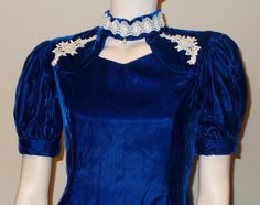 Vintage 1970s Special Occasion Women's Royal Blue Velvet White Floral Lace Dance Party Above The Knee Handmade Evening Prom Mini Dress by Sweetlorraines2 on Etsy