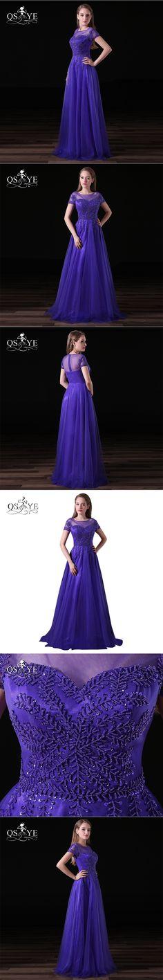 Elegant Beading Long Prom Dresses 2017 Robe de Soiree Illusion O-Neck Short Sleeve Floor Length Tulle Formal Evening Party Gown