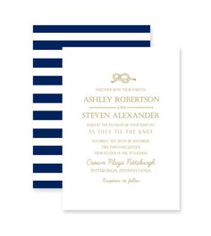 $25 Tying The Knot Deep Navy and Gold Stripes Wedding Invitation - Printable, Print On Your Own, Digital Design, DIY - by Marie Couture Designs on Etsy. https://www.etsy.com/listing/221494002/tying-the-knot-deep-navy-and-gold?utm_source=Pinterest&utm_medium=PageTools&utm_campaign=Share
