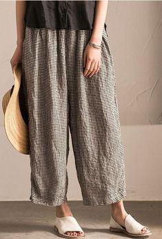 b68e2c0dcca Lovely Black White Grid Wide-legged Pants Linen Casual Trousers K107B Linen  Dresses