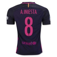 Barcelona 2016/17 Away Men Soccer Jersey A.INIESTA #8