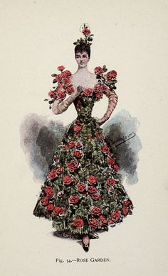 Rose Garden from 'Fancy Dresses Described; or, What to Wear at Fancy Balls,' by Hold, Ardern, 1896 Source by cobaltdragonfly dresses ideas Victorian Fancy Dress, Victorian Costume, Vintage Outfits, Vintage Costumes, Historical Costume, Historical Clothing, 1890s Fashion, Vintage Fashion, Drag Clothing