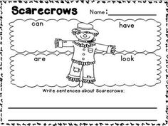 FREEBIE in the download preview!!! Simply Scarecrows~ a writing mini unit for K~2!!! Scarecrow describing printable, Labeling printable, Focus map printables and colored headers for class discussion and so much more! :o) Student Teaching, Teaching Tools, Teaching Ideas, The Scarecrows Wedding, Scarecrow Ideas, November Thanksgiving, Farm Unit, First Grade Writing, School Craft